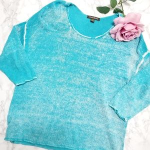 TOMMY BAHAMA Open Knit Marbel Aquamarine Sweater